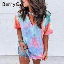 BerryGo Print tie dye V-neck short sleeve shirt women's top Loose wear household