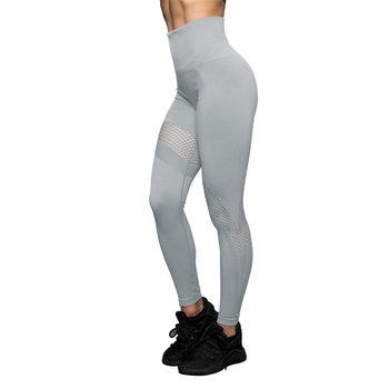 Casual Leggings Women Fitness Leggins Spring Summer Workout Pants New Arrival Mesh Patchwork Grey Jeggings For Gym Training image