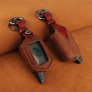 Image 3 - KEYYOU 3 Button Leather Case Cover B9/B6 Fob For Starline B9 B6 A91 A61 LCD Key Case 2 Way Car Alarm System keychain Car styling