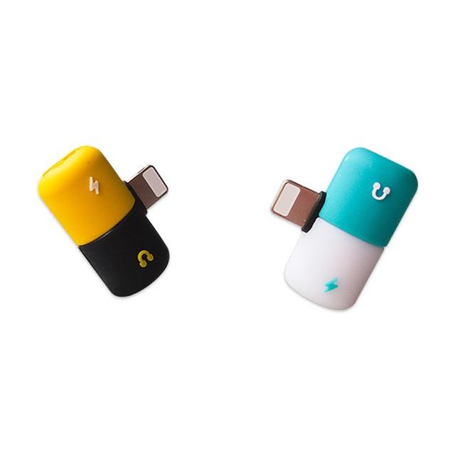 Connecteur Splitter Chargeur Audio Casque Adaptateur Portable 2 EN 1 Pour IPhone 6 7 8 plus X De Jack Écouteur Câble AUXILIAIRE