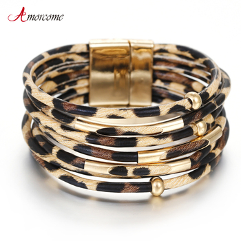 Amorcome Leopard Leather Bracelets for Women 2020 Fashion Bracelets & Bangles Elegant Multilayer Wide Wrap Bracelet Jewelry amorcome metal feather genuine leather bracelet for women jewelry fashion multilayer bohemian charm wide bracelets