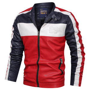 Image 4 - NEGIZBER Mens Leather Casual Fashion Long Sleeve Stand Collar Leather Joker Contrast Leather Men