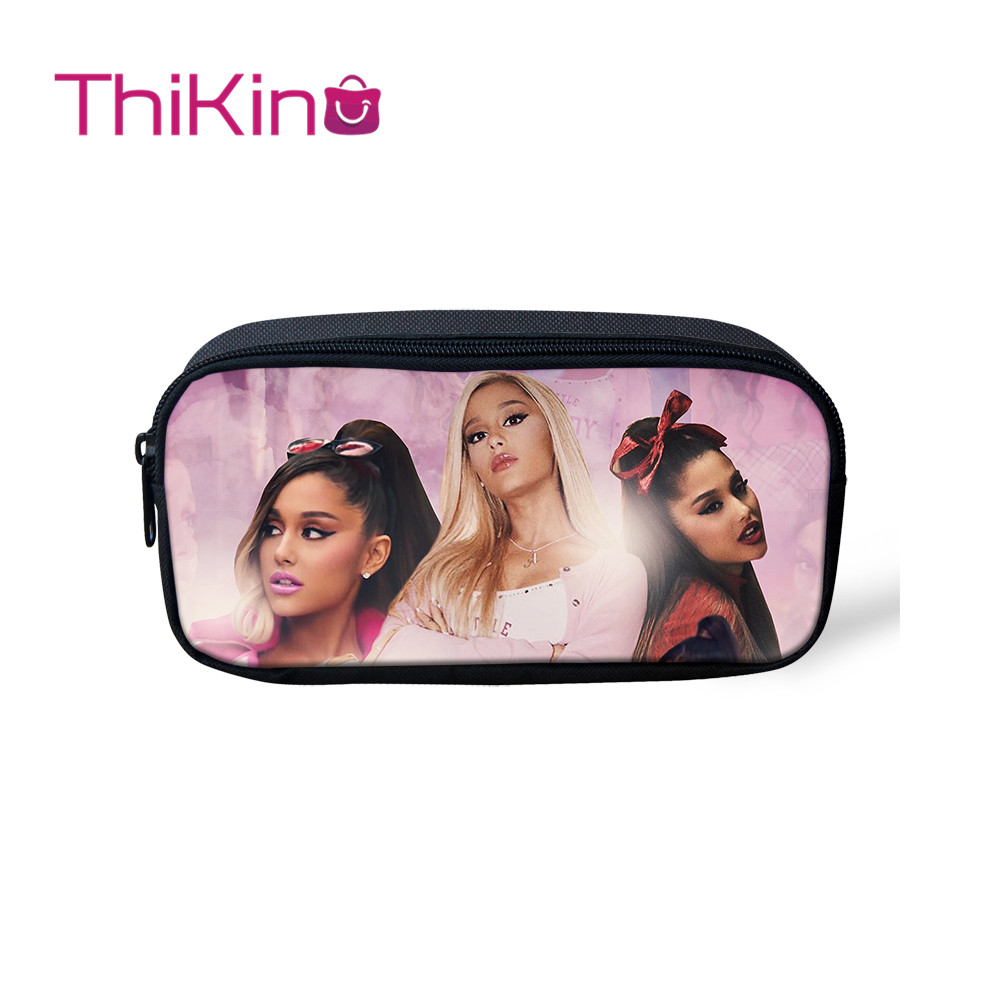 Thikin Ariana Grande Casual Pencil Bags Pen Bag For Girls Pen Case Student Makeup Storage HandBags Pen Purses For Kids
