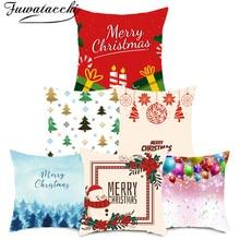 Fuwatacchi Christmas Decoration Cushion Cover Cartoon Pillow Case Home Decorative Pillow Cover for Sofa Car Seat Home Decor pillow cover christmas snow man home decoration