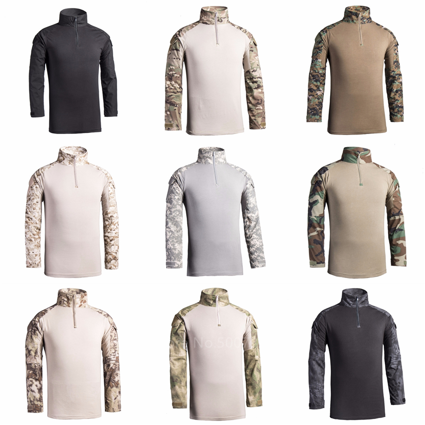 11Color Men Army Military Uniform Camouflage Special Forces Tactical Clothes Outdoor Training Adult Long Sleeve Tops T-shirt