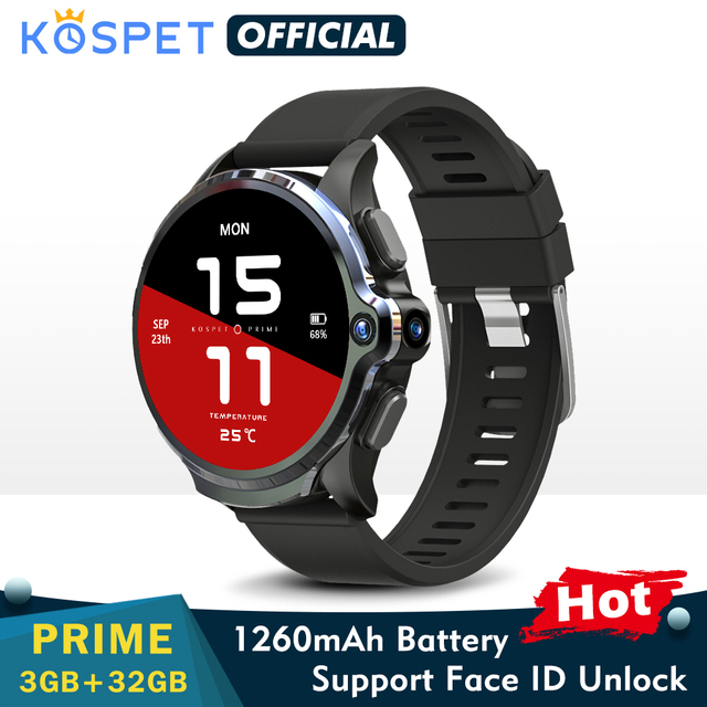 KOSPET Prime 3GB 32GB Smart Watch Men 1260mAh Dual Camera Heart Rate Face ID 1.6 1
