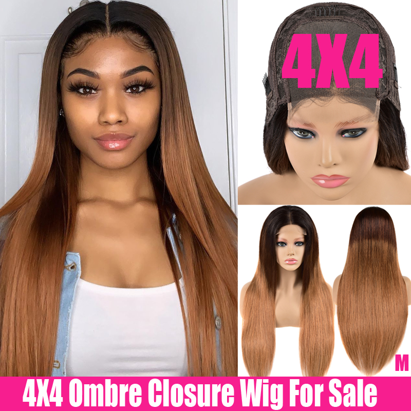 Glueless 4x4 Lace Closure Wig Auburn Highlight Swiss Straight Lace Front Wig 150% Remy Ombre Human Hair Wigs Brazilian Hair Wigs