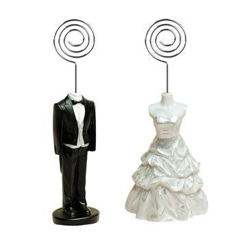 2 sztuk zestaw zdjęcie ślubne klip numer stołu stojak Bride amp Groom kostium dekoracja stołu wizytownik na akcesoria ślubne tanie i dobre opinie CN (pochodzenie)
