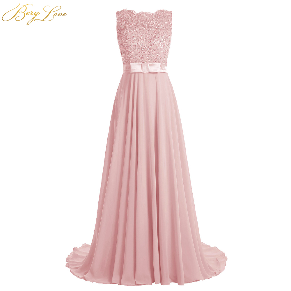 BeryLove Long Blush Evening Dress 2019 Beaded Appliques Vestid Chiffon Prom Dress Bow Knot Belt Illusion Back Formal Party Gown