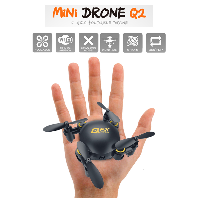 Q2 Mini <font><b>Drone</b></font> Wifi <font><b>FPV</b></font> RC Foldable Selfie Egg <font><b>Drone</b></font> With 0.3MP Camera 2.4G attitude hold RC pocket toy mini <font><b>racing</b></font> quadcopter image