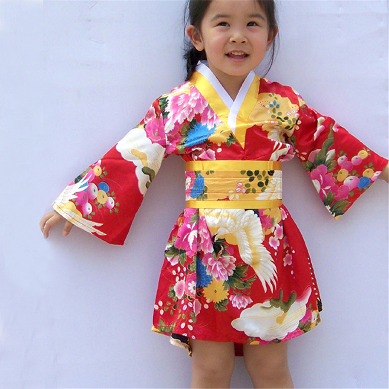 2-6Y Newborn Baby Girls Japanese Traditional Kimono Dress Birthday Gift Spark Conference New Year Costume Luxury Kids Yukata
