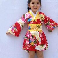 2 6Y Newborn Baby Girls Japanese Traditional Kimono Dress Birthday Gift Spark Conference New Year Costume Luxury Kids Yukata