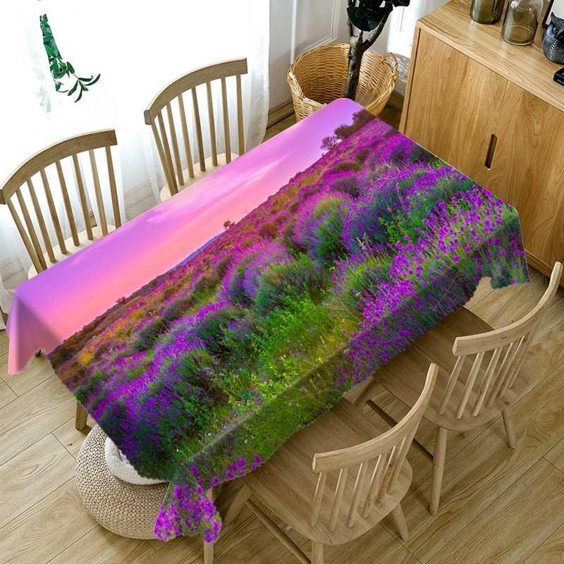 3D ดอกไม้สีม่วงรูปแบบผ้าปูโต๊ะป้องกันฝุ่นผ้าผ้าฝ้ายสี่เหลี่ยมผืนผ้าและผ้าตารางรอบ