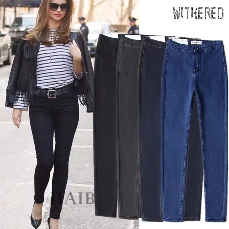 Withered England Vintage High Street Super Skinny Jeans Woman High Waist Jeans Stretch Push Up Pencil Jeans For Women Plus Size