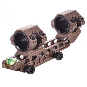 Tan One Piece Picatinny Scope Mounts 25.4mm/30mm Double Rings Hunting Scope Adapter 20mm Weaver Picatinny Rail With Bubble Level