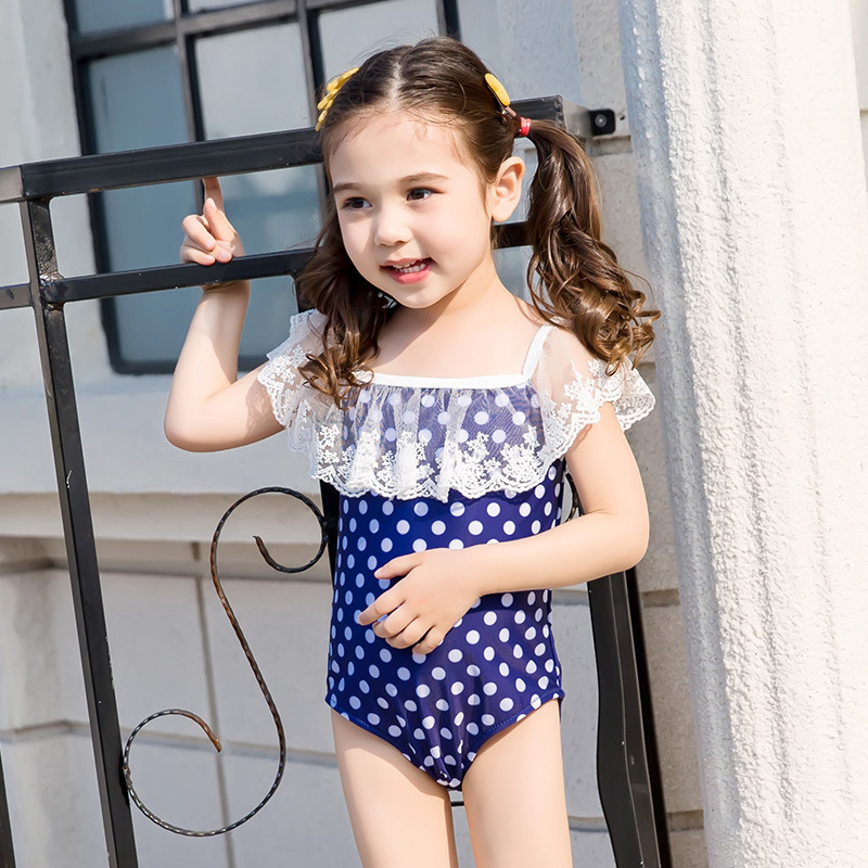 Korean-style Cute GIRL'S Swimsuit Children Small CHILDREN'S Baby One-piece Floral Polka Dot Lace Princess Off-Shoulder Swimming