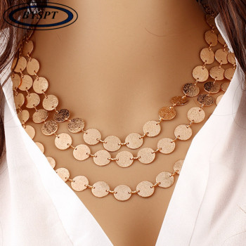 BYSPT Ethnic Coins Necklace Women Leaves Triangle Bar Round Chokers Statement