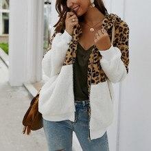 Autumn Winter Women Leopard Jacket Fleece Teddy Coat Long Sleeves Zipper Warm Ho