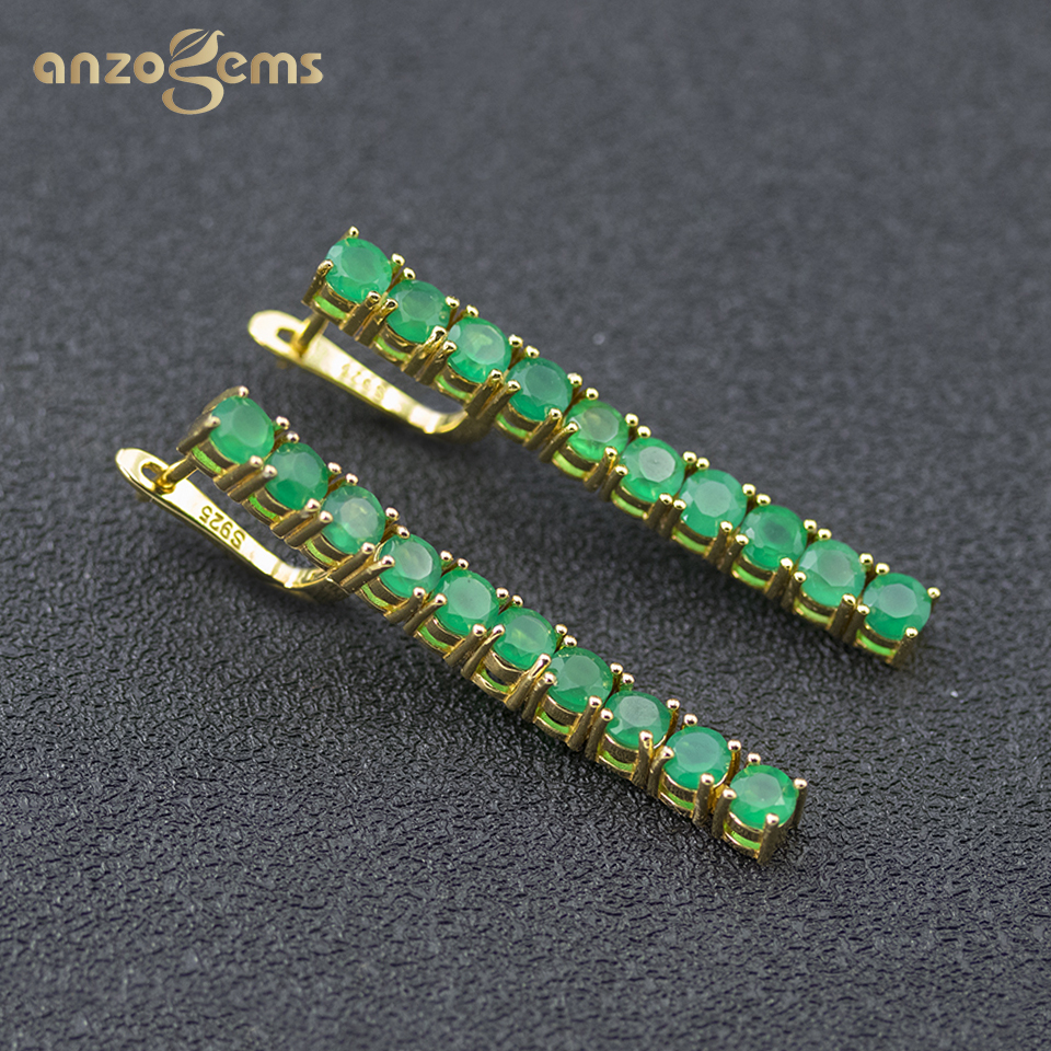 Anzogems Natural Green Agate String Dangle Earrings 925 Sterling Silver Gemstone Fine Fashion Jewellry For Women Best Gift 2020