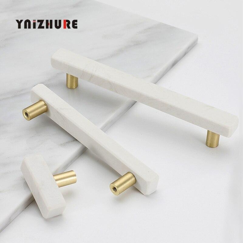Marble Door Knobs And Handles For Furniture Cabinet Kitchen Cupboard Zinc Alloy Dresser Handles Drawer Pulls Stone Rock Beige