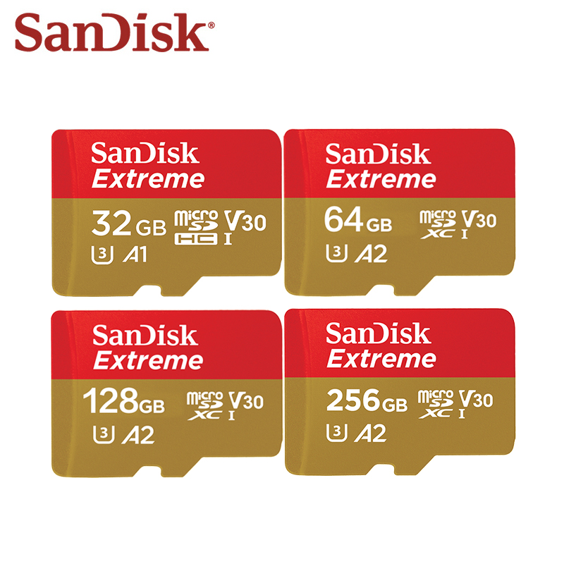 100% Original SanDisk Extreme Micro SD Card 128GB 256GB 64GB SDXC A2 U3 32GB SDHC A1 V30 Memory Card Flash Microsd With Adapter