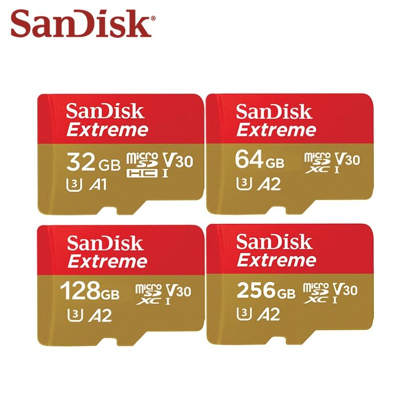 100% Original SanDisk Extreme Micro SD Card 128GB 256GB 64GB SDXC A2 U3 32GB SDHC A1 V30 Memory Card Flash Microsd With Adapter