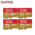 100% original sandisk extreme micro cartão sd 128 gb 256 gb 64 gb sdxc a2 u3 32 gb sdhc a1 v30 cartão de memória flash microsd com adaptador