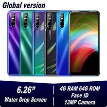 A30s água gota tela 6.26 polegada face id desbloqueado smartphone 4gb ram 64gb rom quad core wifi telefones celulares android 13mp celulares
