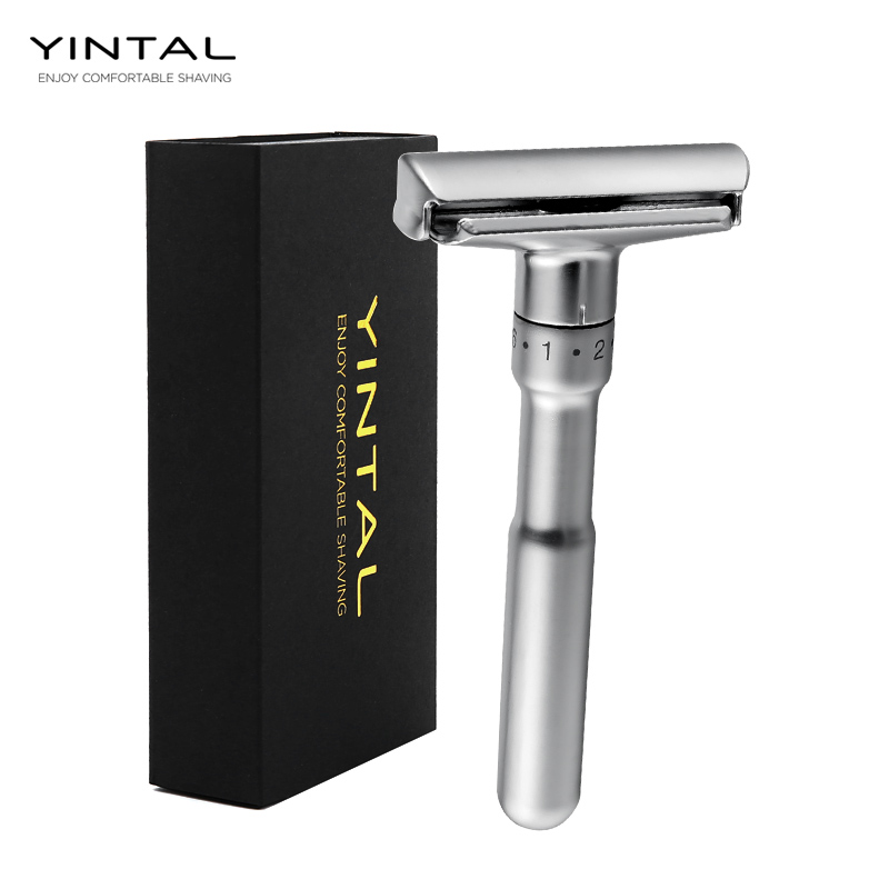 YINTAL Adjustable Safety Razor Double Edge Classic Men Shaving Mild To Aggressive 1-6 File Hair Removal Shaver It With 5 Blades