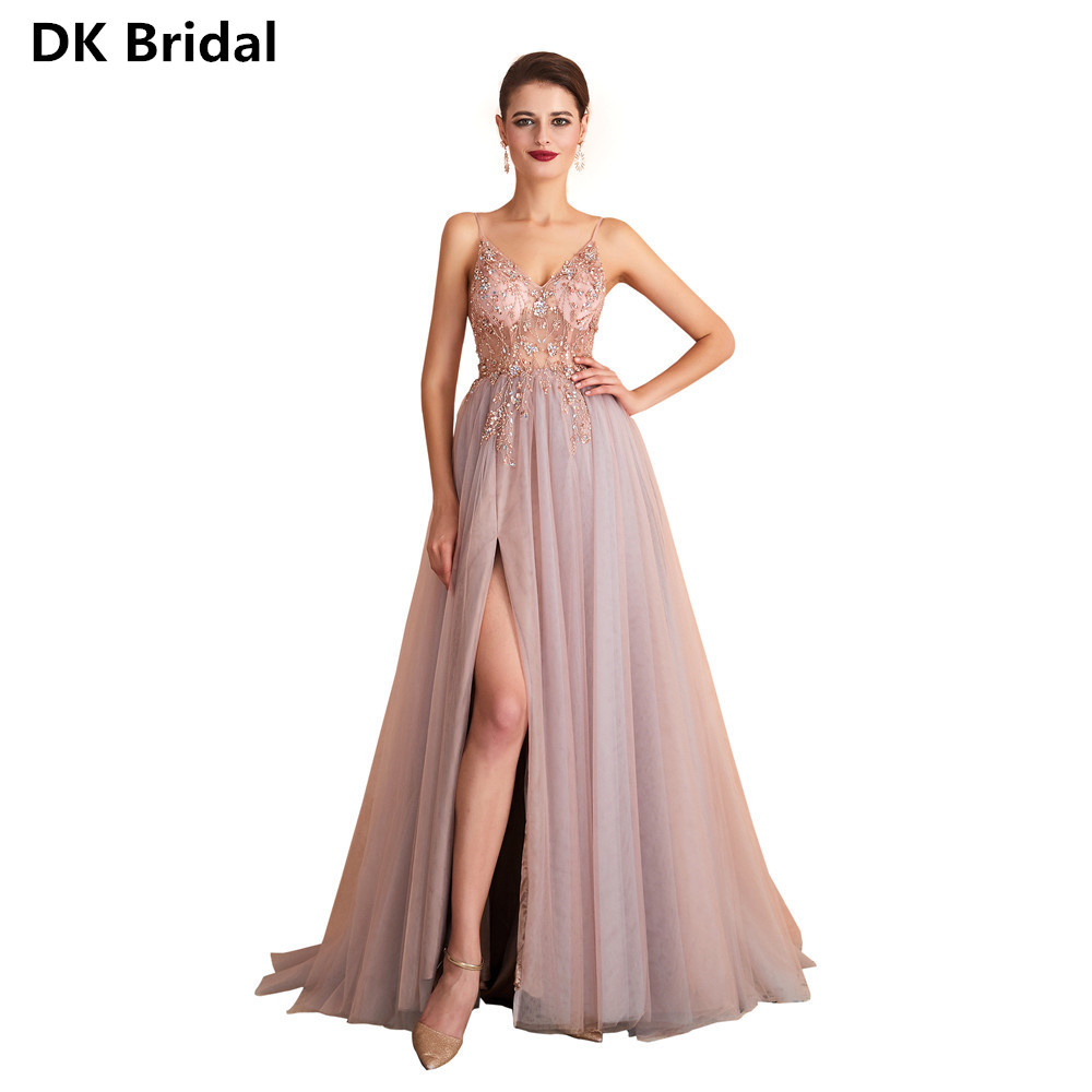 Beading Sequined   Prom     Dresses   2019 V-Neck Pink High Split Tulle Sweep Train Sleeveless Evening Gown A-line Backless Vestido De