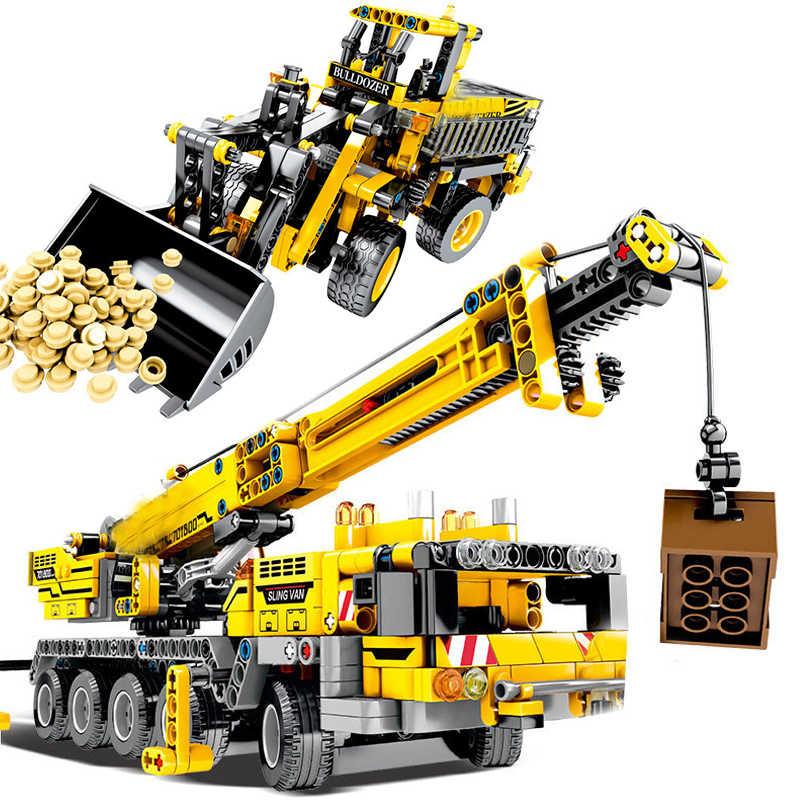 Teknik Forklift Teknik Truk Derek Wheel Excavator Kompatibel Secara Terbuka Kota Mobil Digger Mekanik Blok Bangunan Mainan
