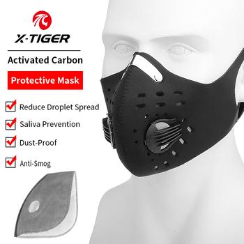X-TIGER sportowa maska kolarska na twarz z 2 filtrami filtr przeciwzapachowy PM 2 5 węgiel aktywny z zaworem oddechowym maska do biegania tanie i dobre opinie Bawełna organiczna Cycling Bike Fishing Hiking Camping Running Black Activated Carbon Dustproof Mask Dust-proof Breathable