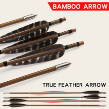 Bow And Arrow Hunting Archery 32 inches Real Feather Arrow Outdoor Traditional Shooting Accessories for Recurve/Compound Bow 1pcs 4colors archery compound bow arrow rest recurve bow arrow rest for bow outdoor hunting shooting accessories