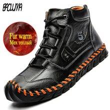 Men Sneakers Motorcycle-Boots Waterproof Winter Outdoor Men's Fashion Warm Plush Fur