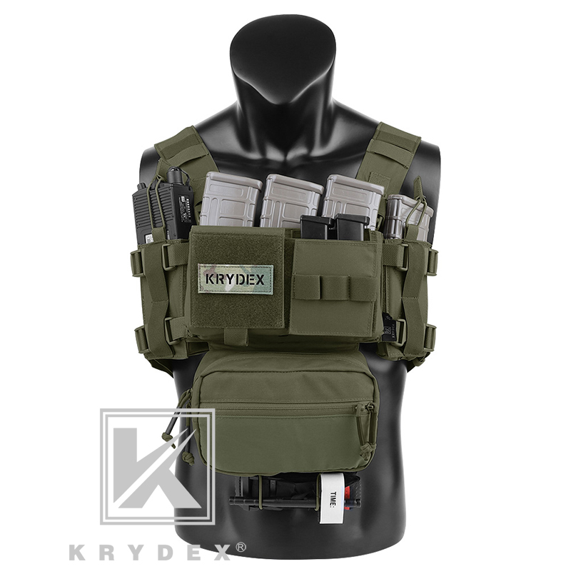 KRYDEX MK3 Modular Tactical Chest Rig Chassis Spiritus Airsoft Hunting Military Tactical Carrier Vest W/ 5.56 223 Magazine Pouch
