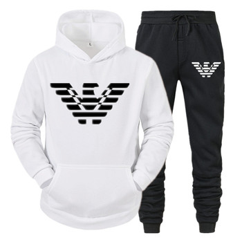 2021 Autumn Winter Men Sports Set High Quality Male Gym Jogging 2PCS Hoodie and Running Pants