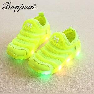 Детские повседневные Нескользящие кроссовки с подсветкой для малышей; детские дышащие модные светящиеся кроссовки на липучке для девочек и мальчиков; детская обувь