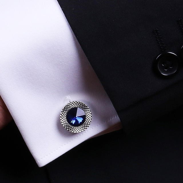 Blue Crystal Cone Cufflinks Men Classic Brand Blue Prismatic Cuff Button Designer High Quality Men's Shirt Taper Cuff Links 4