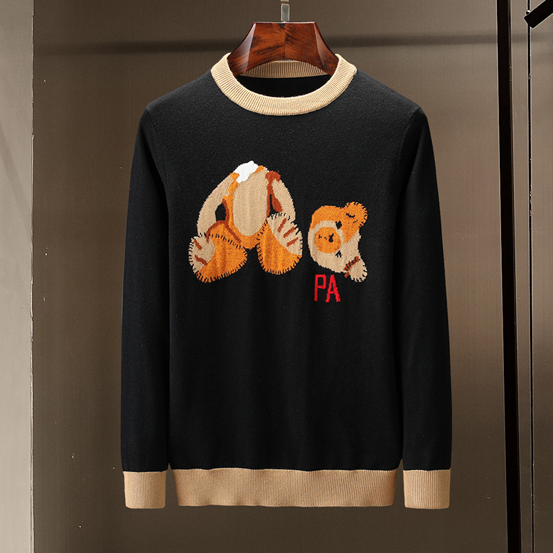 Tops Quality Sweet Embroidery Broken Head Bear Sweater Pullovers Jumper Clothers Men And Women Knitted Cartoon Bear Letter Pa
