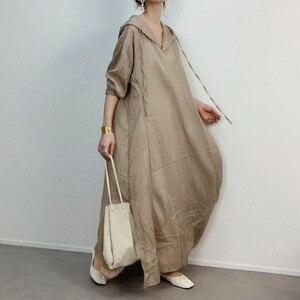 Koreański styl Chic kobiety sukienka luźna 2020 jesień Casual-line długa, maksi bluza z kapturem sukienki szata Femme Vestiods długość podłogi
