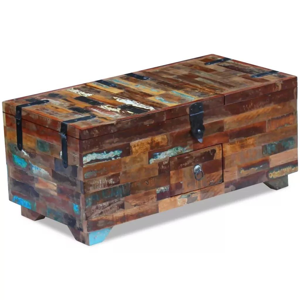 VidaXL Coffee Table Box Chest Solid Reclaimed Wood 80x40x35 Cm 243320