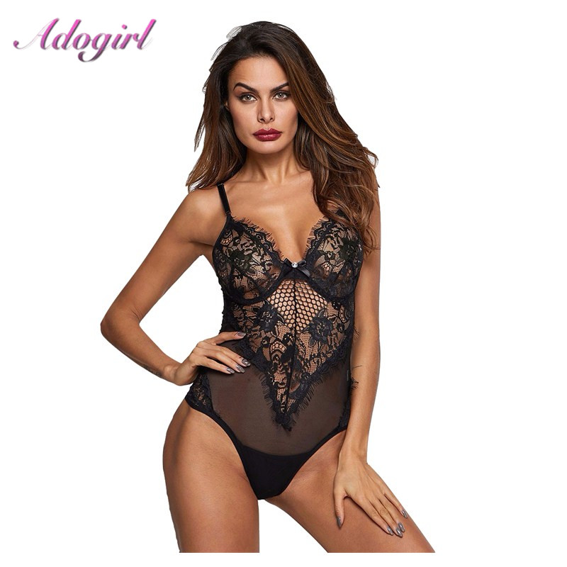 Sexy Sheer Mesh Straps Lace Bodysuit Women Sleeveless Hollow Out Night Clubwear Jumpsuit Casual Ladies Body Tops Outfit Rompers