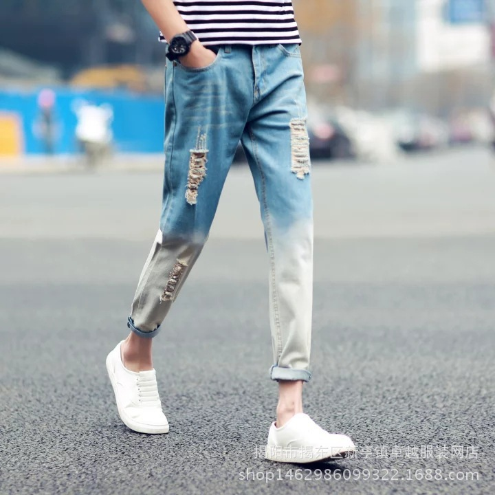 New Style Men's Slim Fit Pants Capri Jeans Light Blue Gradient Color With Holes Jeans Korean-style Youth Les Handsome Pants