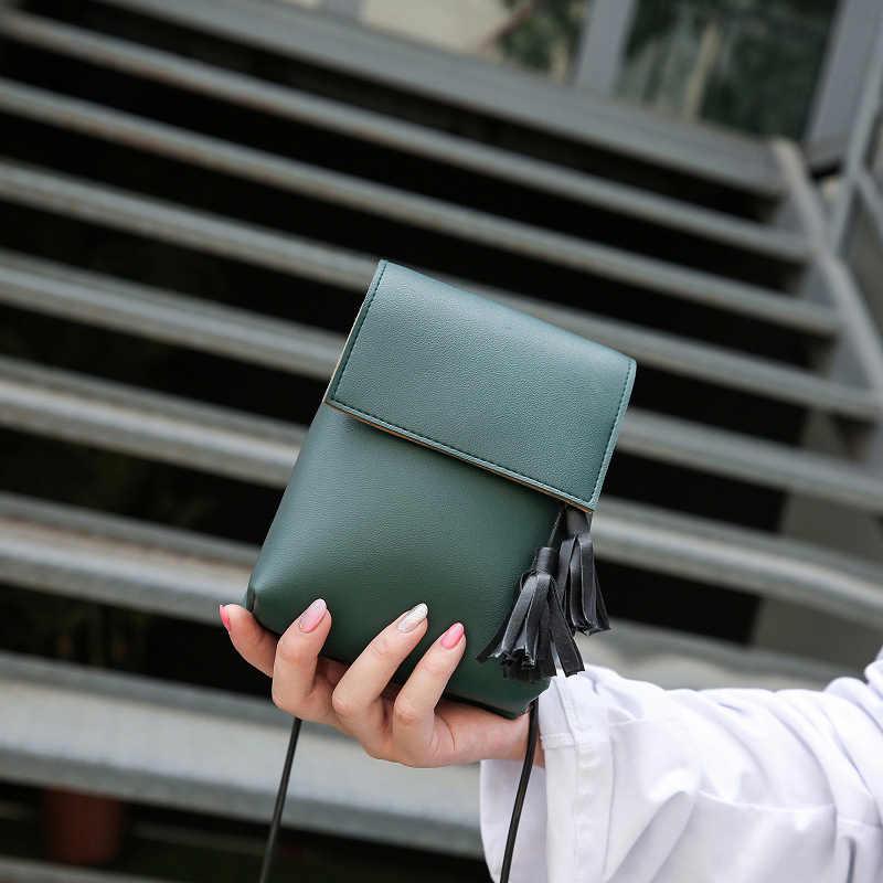 Diseñador de moda borla bolso mujer bolsos de hombro de alta calidad de cuero simple bolsa cuadrada