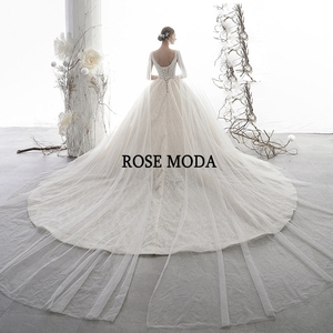 Image 2 - Rose Moda Luxury Deep V Neck Glittering Wedding Dress 2020 with Cape Crystal Wedding Gown Long Train Custom Make