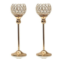 ABUI Crystal Candle Holders Stand Metal Pillar Candlesticks Set Mother's Day Holiday Decoration Table Centerpiece Candelabra