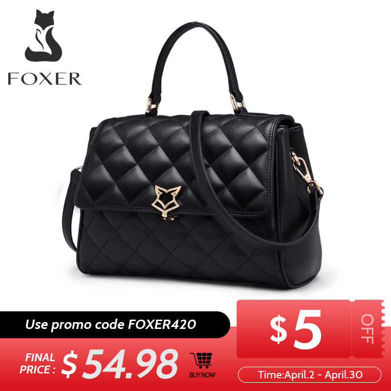 FOXER Women Leather Shoulder Bag Cowhide Lattice Crossbody Bags Lady Handbag with Adjustable Strap Fashion Flap Bag for Female