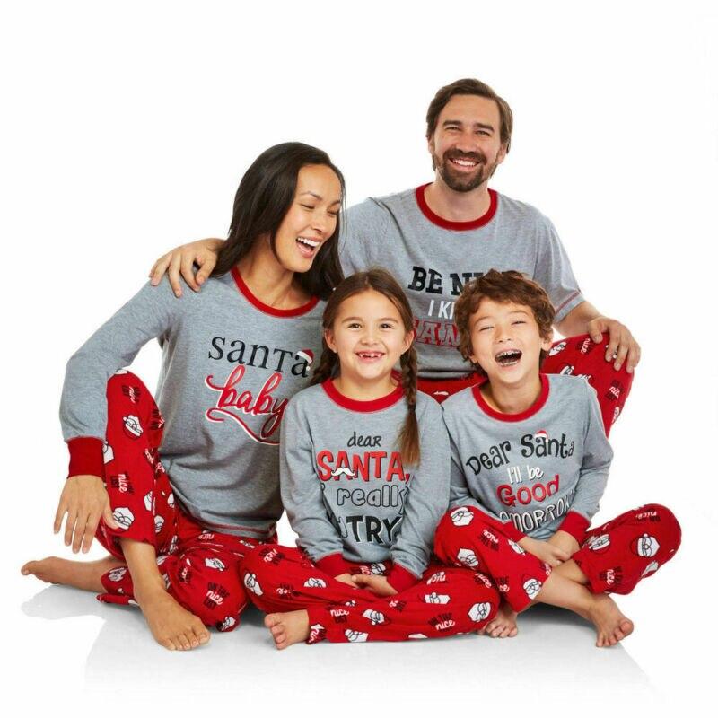 Family Matching Clothes Mens Womens Kids Boys Girls Christmas Pyjamas Sets Xmas Nightwear Tops + Long Pants 2pcs Outfits