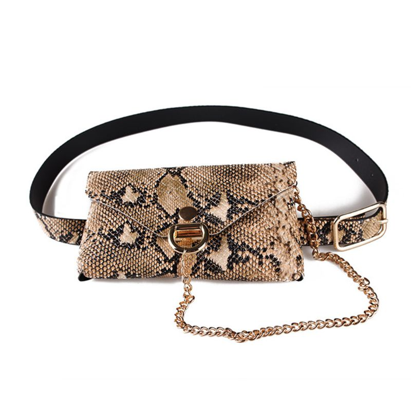 Fashion WoMan's Snakeskin Pattern Leather Waist Fanny Belt Pack Shoulder Bag Chain Phone Purse For Girls WoMan