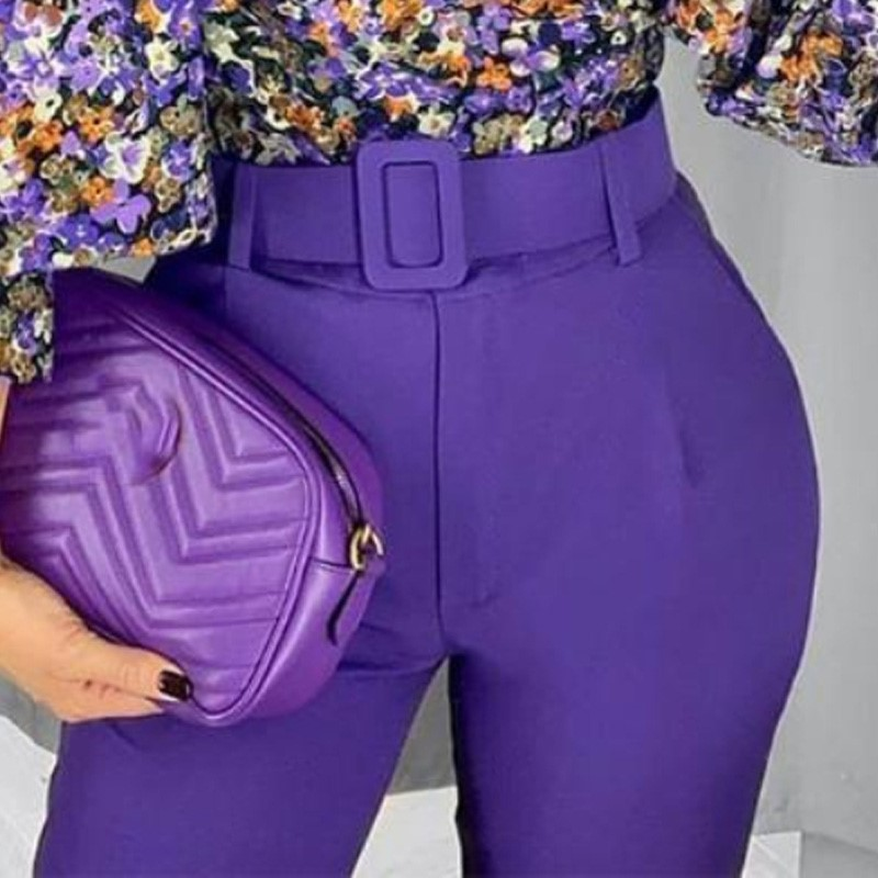 Women Elegant Purple Pants Sashes Pockets Zipper Solid Chic Trousers Ladies Pantalones